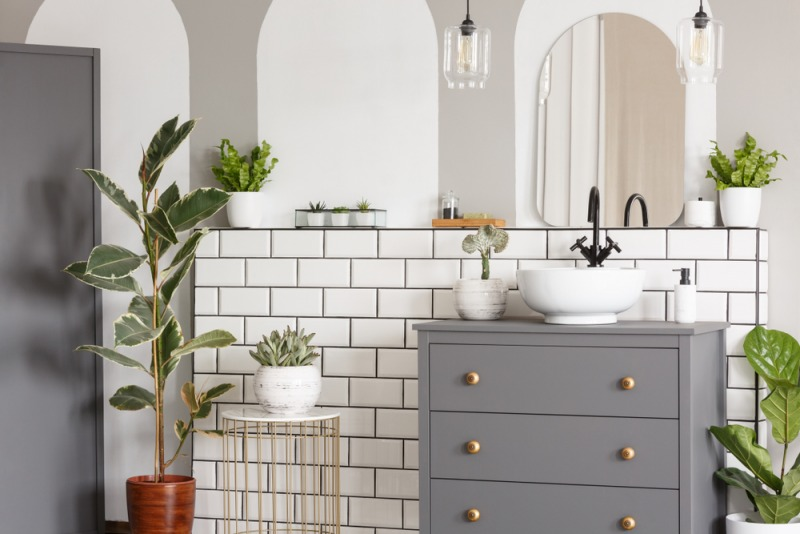 biała łazienka z szarą komodą i roślinami