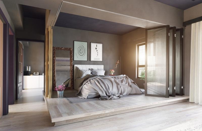 przezroczyste drzwi wydzielające sypialnię