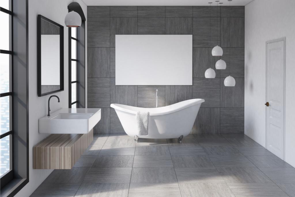 biało szara nowoczesna łazienka z wanna