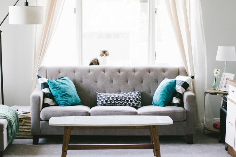 szara kanapa i niebieskie poduszki w salonie w stylu skandynawskim