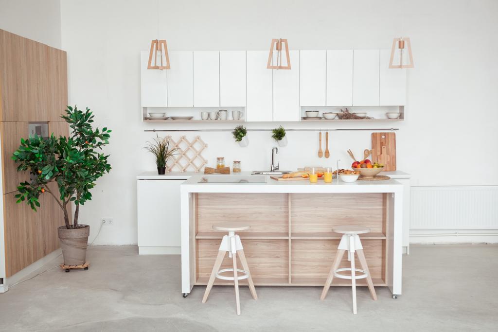biała nowoczesna kuchnia wstylu skandynawskim