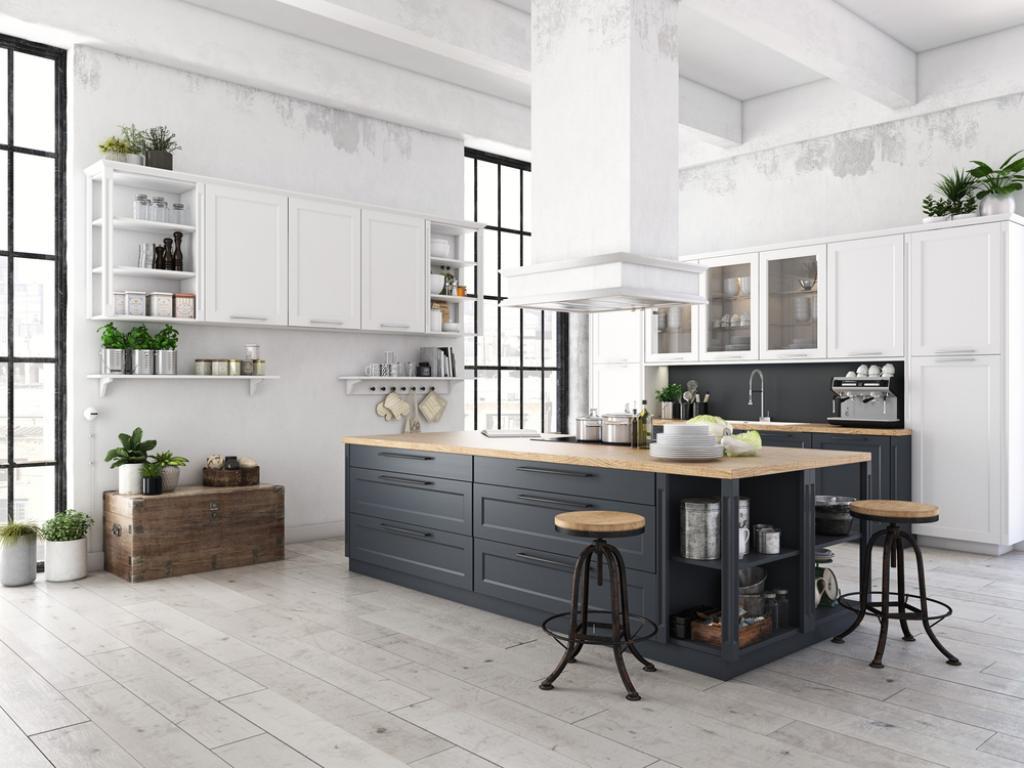 czarno biała duza kuchnia wstylu skandynawskim