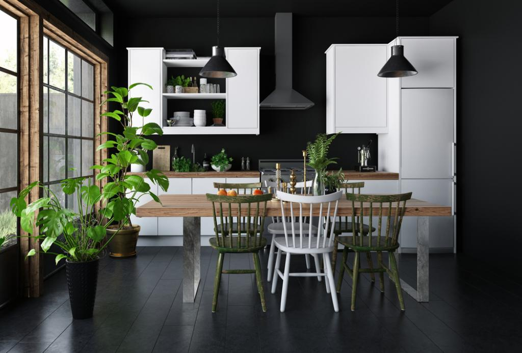 czarno biała kuchnia zroślinami