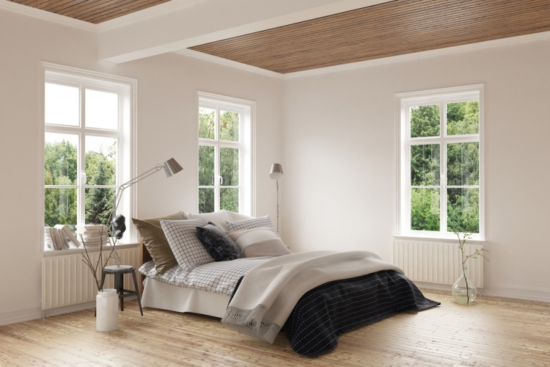 łóżko wnowoczesnej sypialni