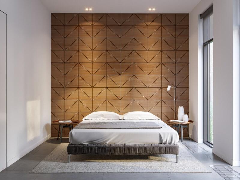 sypialnia złóżkiem idrewnianymi panelami naścianie