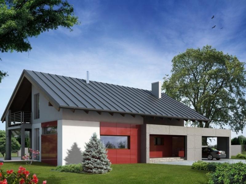 nowoczesny dom zczerwonymi panelami