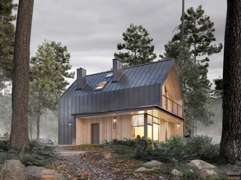 nowoczesny dom zelewacją zblachy