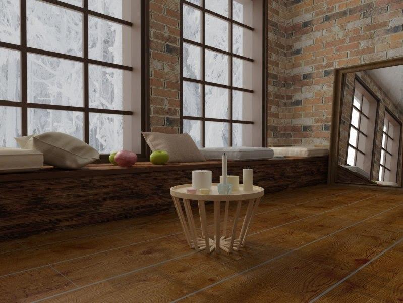 salon wstylu loftowym zlustrem napodłodze