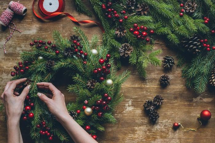 tworzenie wianka świątecznego
