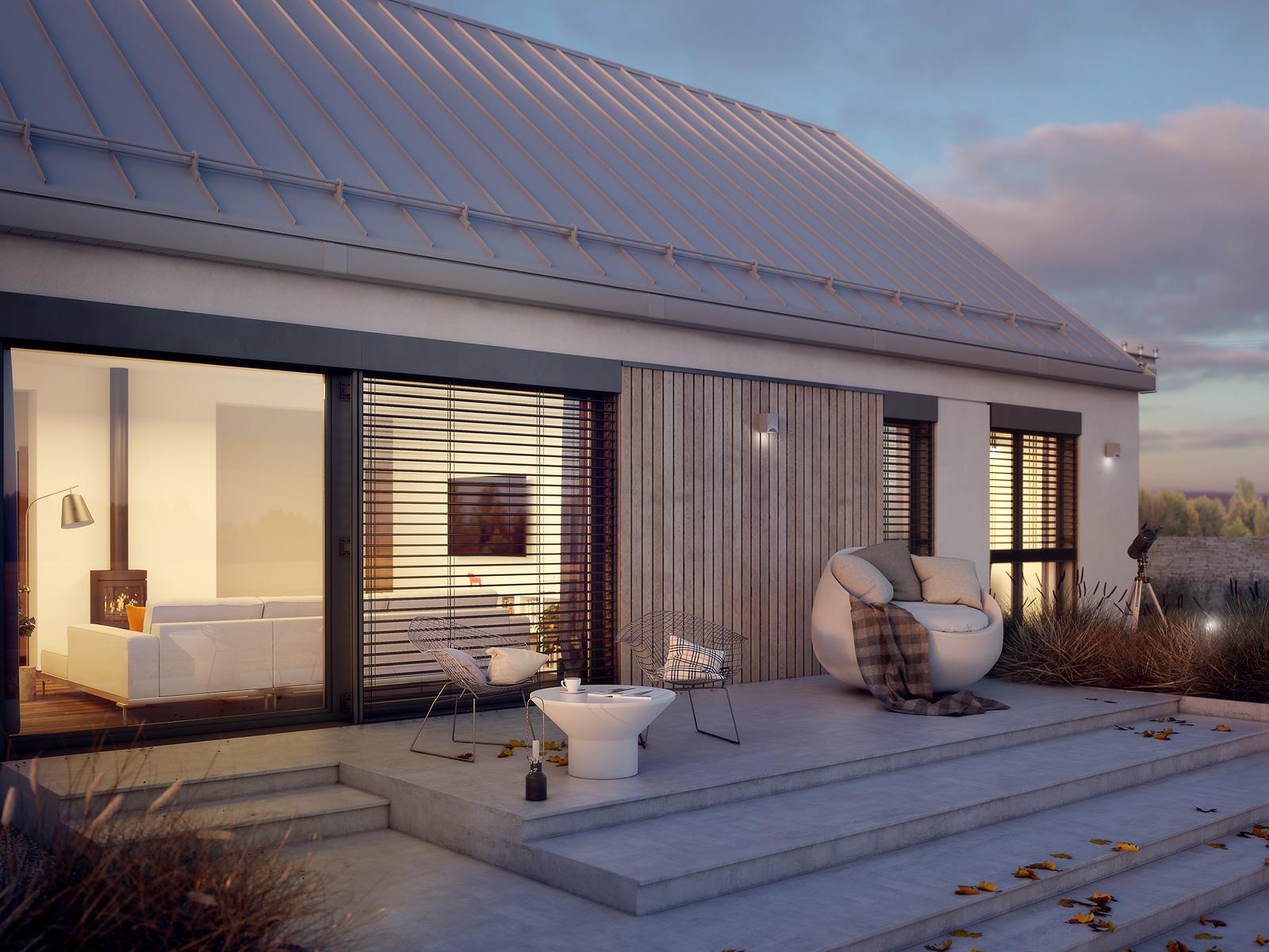 nowoczesny dom z drewnem