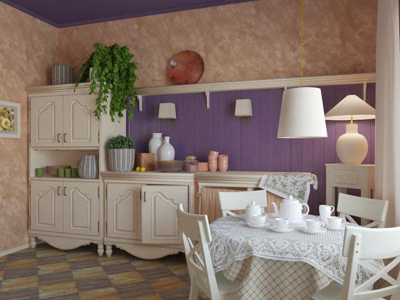 fioletowa kuchnia wstylu prowansalskim