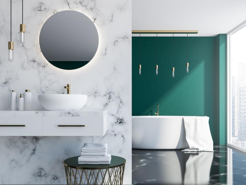 marmurowa łazienka zzieloną ścianą