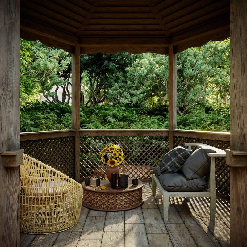 wnętrze drewnianej altany ogrodowej