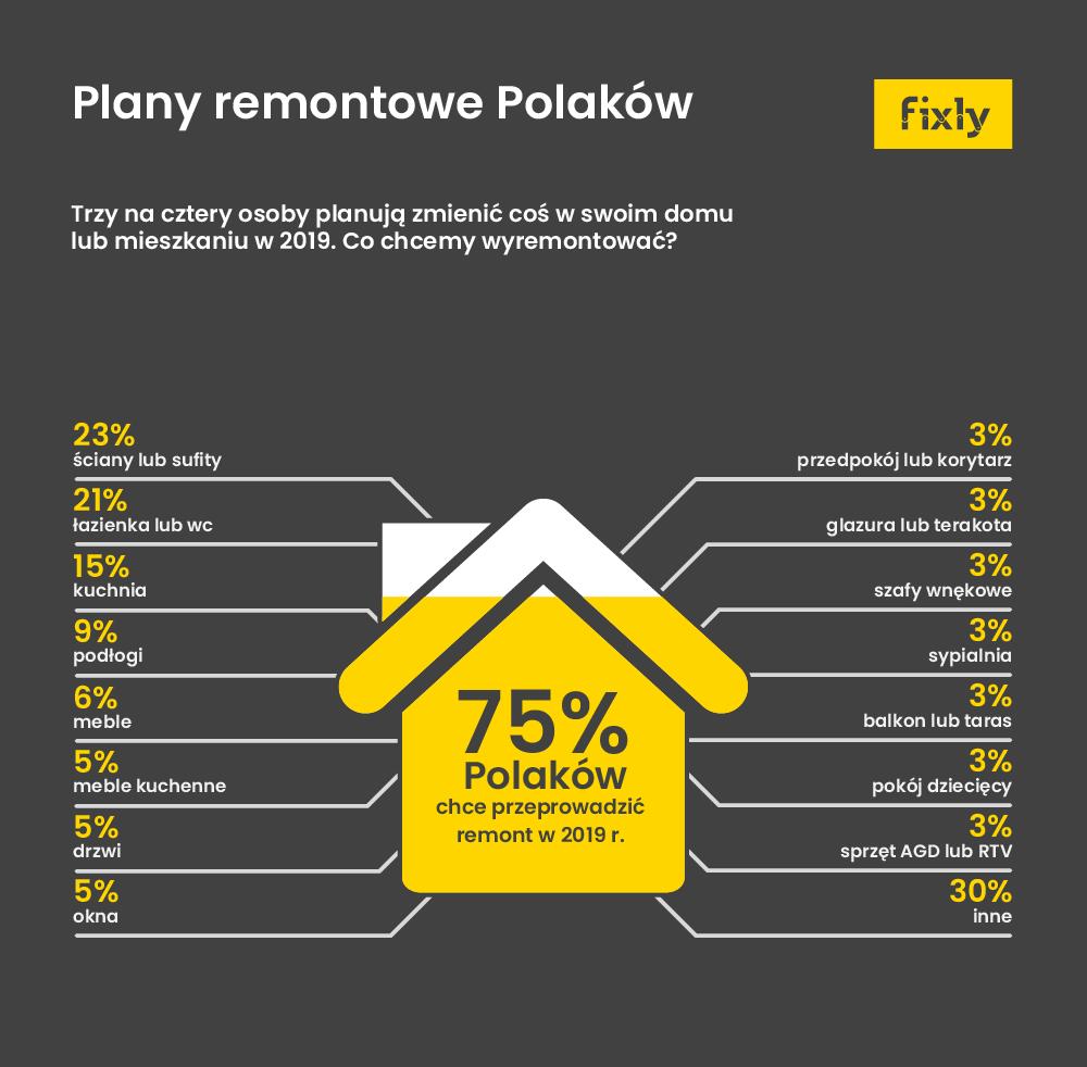 infografika plany remontowe polakow 2019