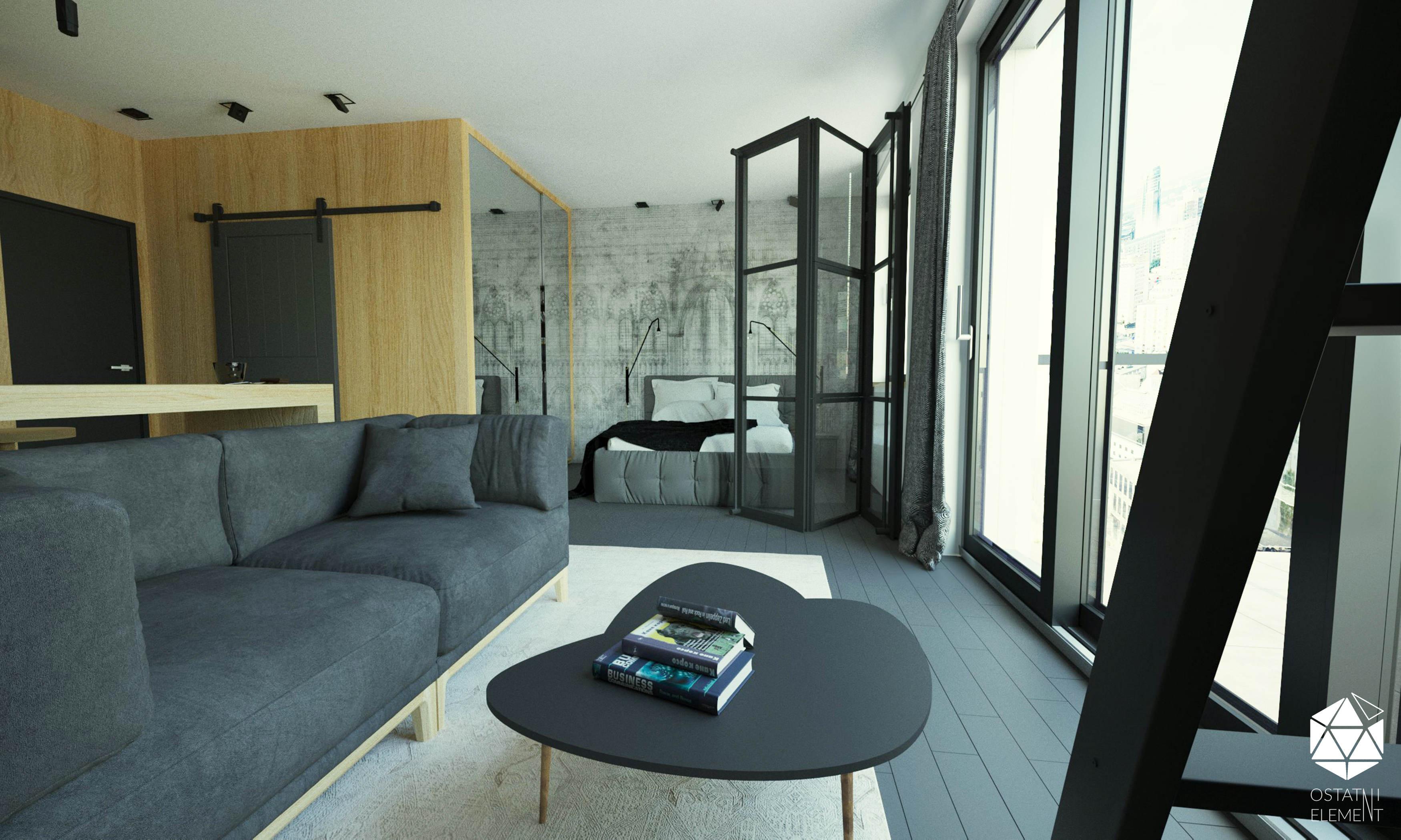 sypialnia oddzielona osalonu drzwiami szklanymi